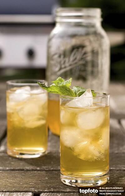 Glasses of iced mint tea