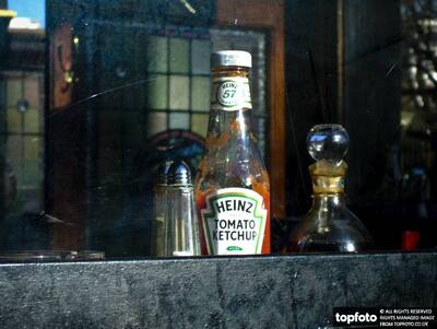 Bottle of Heinz ketchup, salt