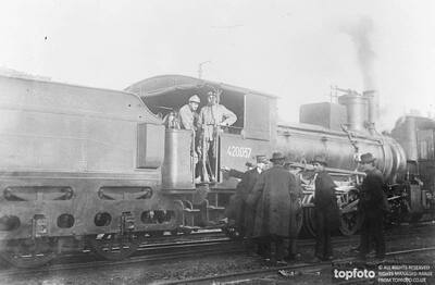 Armed guards on a locomotive
