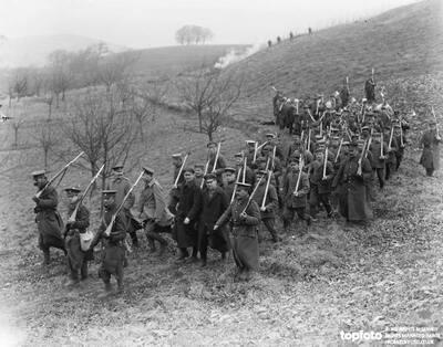 German prisoners arriving under guard