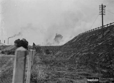 Burning grass on railway banks