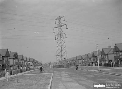 Electricity pylons crossing the road