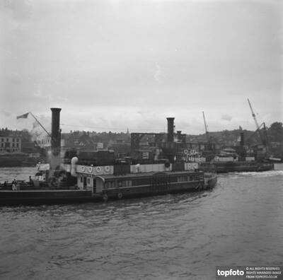 Steamships on the river Thames