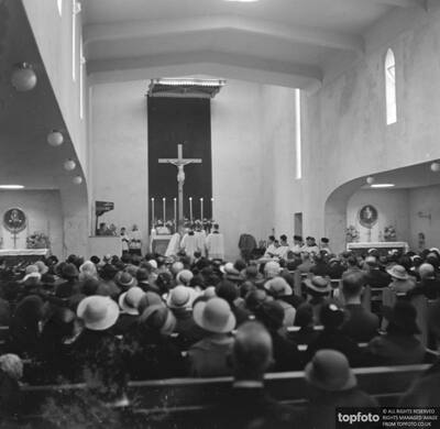 Inside a Catholic church during
