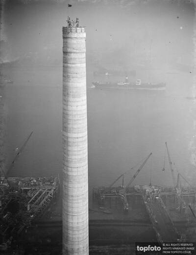 One of the chimneys of
