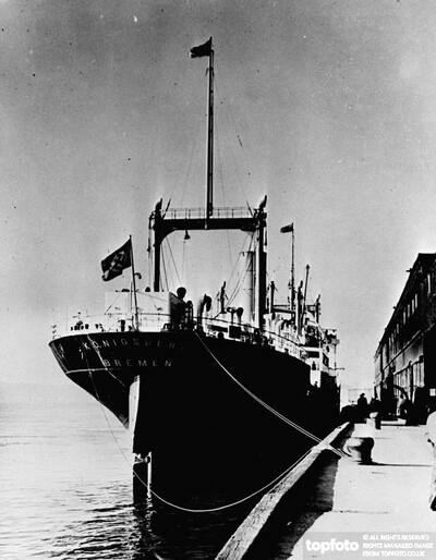 The German ship tied up