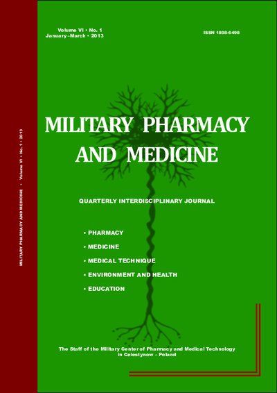 Military Pharmacy and Medicine. 2013. Volume VI. No. 1