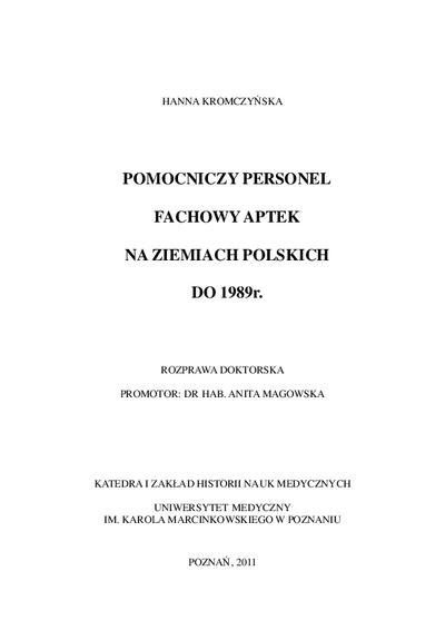 Pomocniczy personel fachowy aptek na ziemiach polskich do 1989 r.