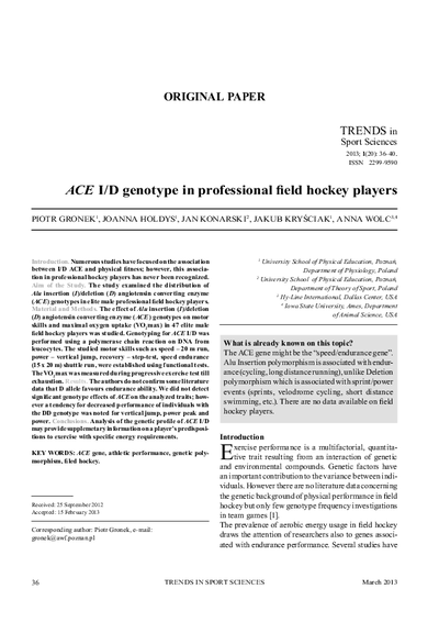 ACE I/D genotype in professional field hockey players