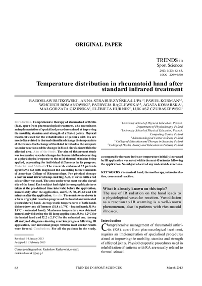 Temperature distribution in rheumatoid hand after standard infrared treatment