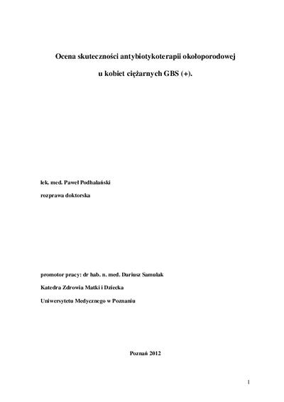 Ocena skuteczności antybiotykoterapii okołoporodowej u kobiet ciężarnych GBS (+)