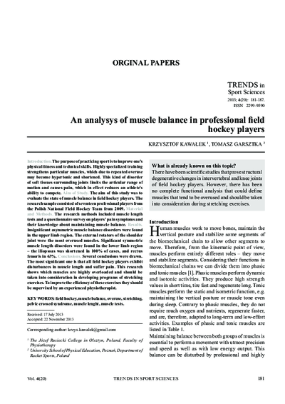 An analysys of muscle balance in professional fi eld hockey players