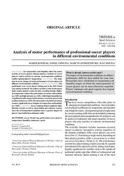 Analysis of motor performance of professional soccer players in different environmental conditions