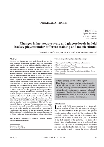 Changes in lactate, pyruvate and glucose levels in field hockey players under different training and match stimuli