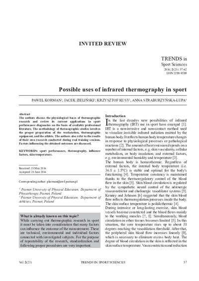Possible uses of infrared thermography in sport