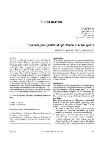 Psychological gender of sportsmen in team sports